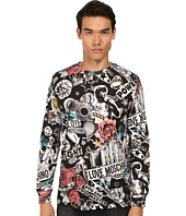 LOVE Moschino - Regular Fit Tattoo Print Long Sleeve Tee