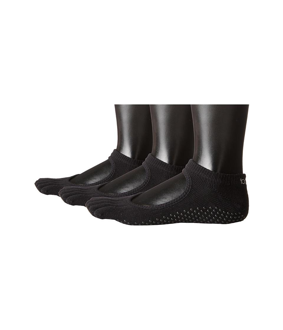 toesox Bella Full Toe 3 Pack Black Womens No Show Socks Shoes
