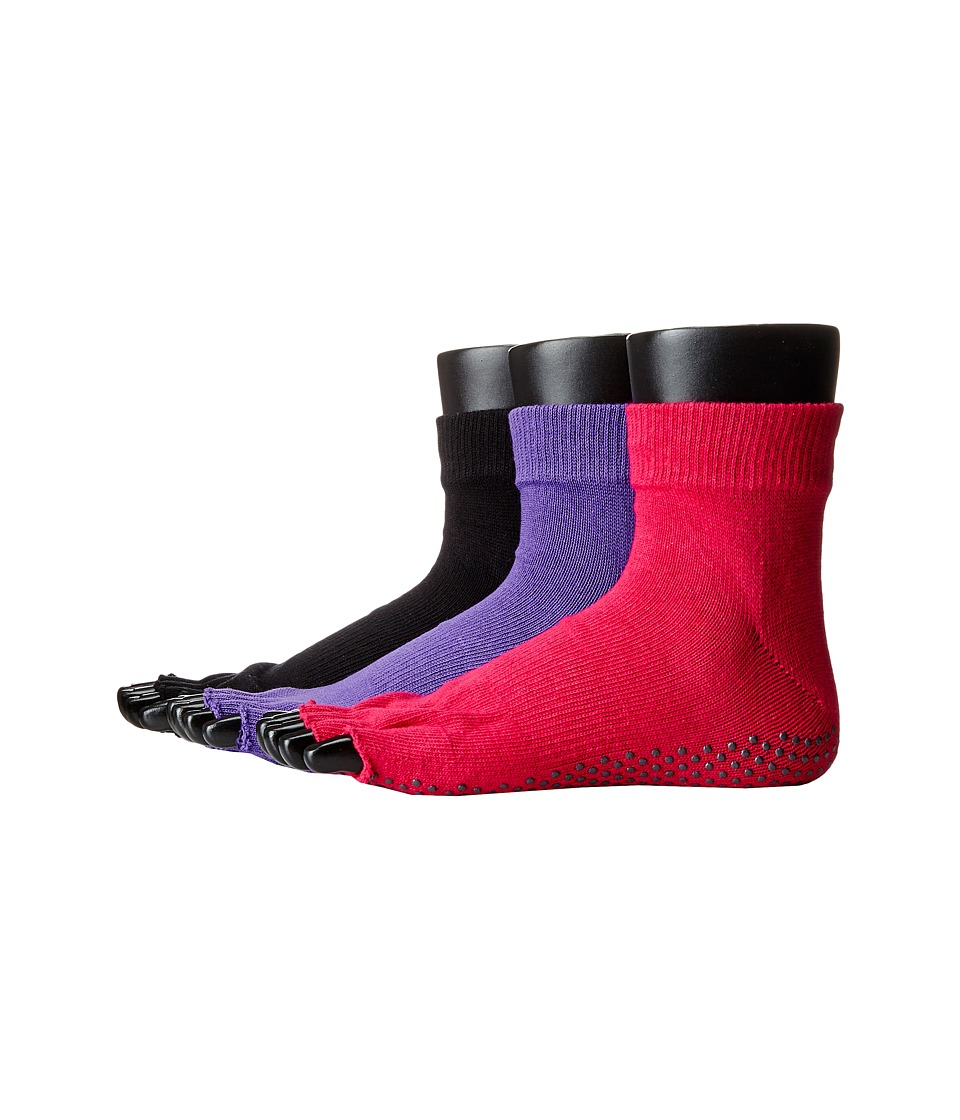 toesox Ankle Half Toe 3 Pack Black/Fuchsia/Light Purple Womens No Show Socks Shoes