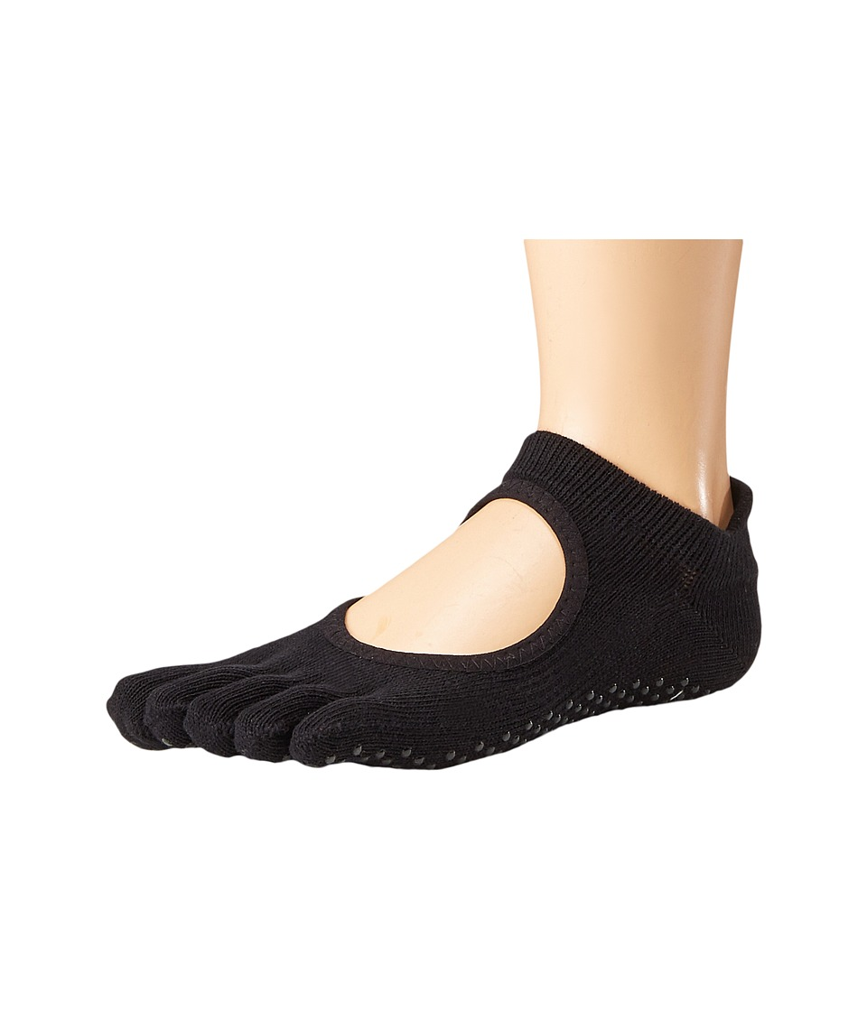 toesox - Grip Full Toe Bellarina (Black) Womens Low Cut Socks Shoes