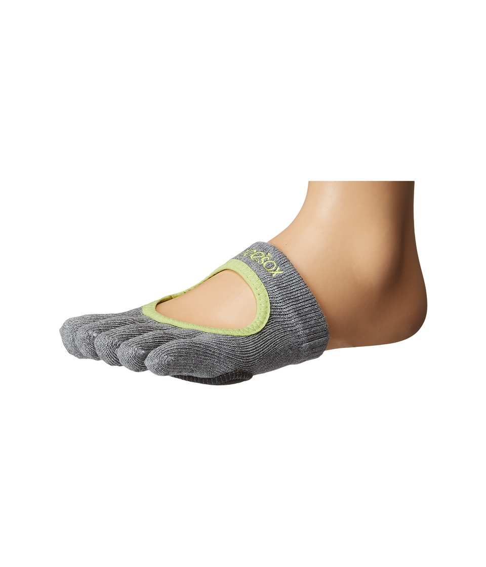 toesox - Dance Full Toe Releve (Heather Grey With Lime-Aid Trim) Womens Crew Cut Socks Shoes