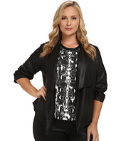 Karen Kane Plus - Plus Size Faux Leather Jacket w/ Shirred Sleeves