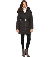 DKNY - Hooded Faux Fur Belted Down w/ Embroidered Stitch Detail 31508-Y5
