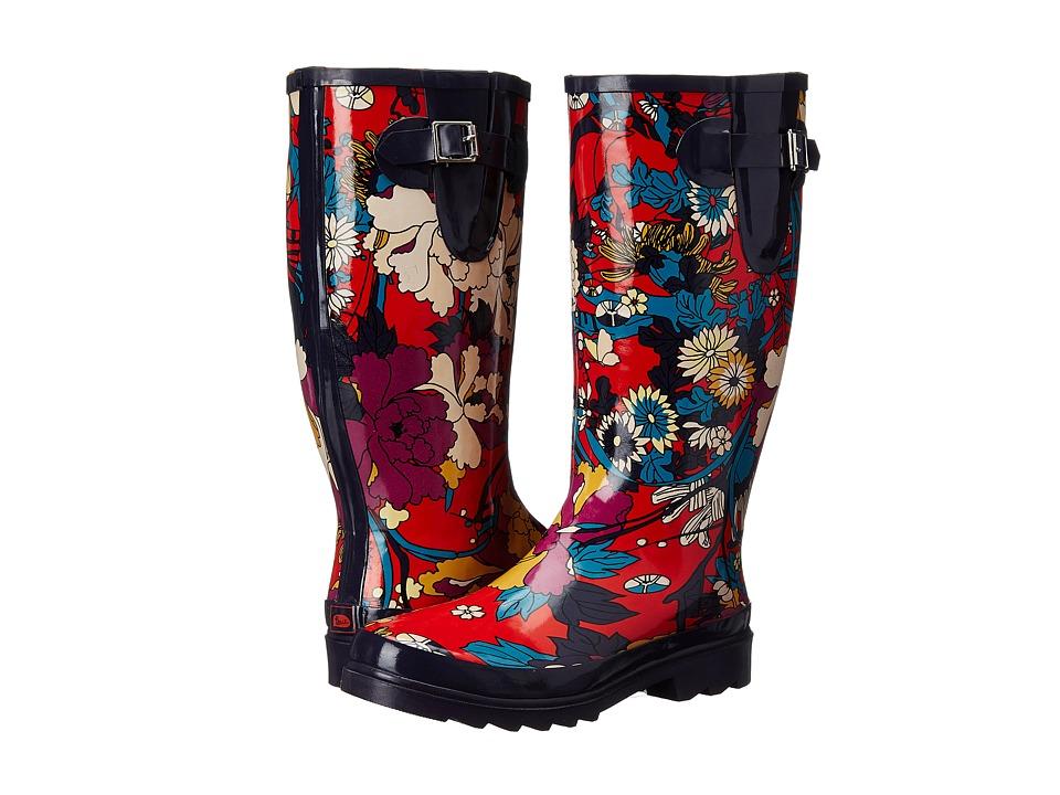 Sakroots Rhythm Crimson Flower Power Womens Rain Boots