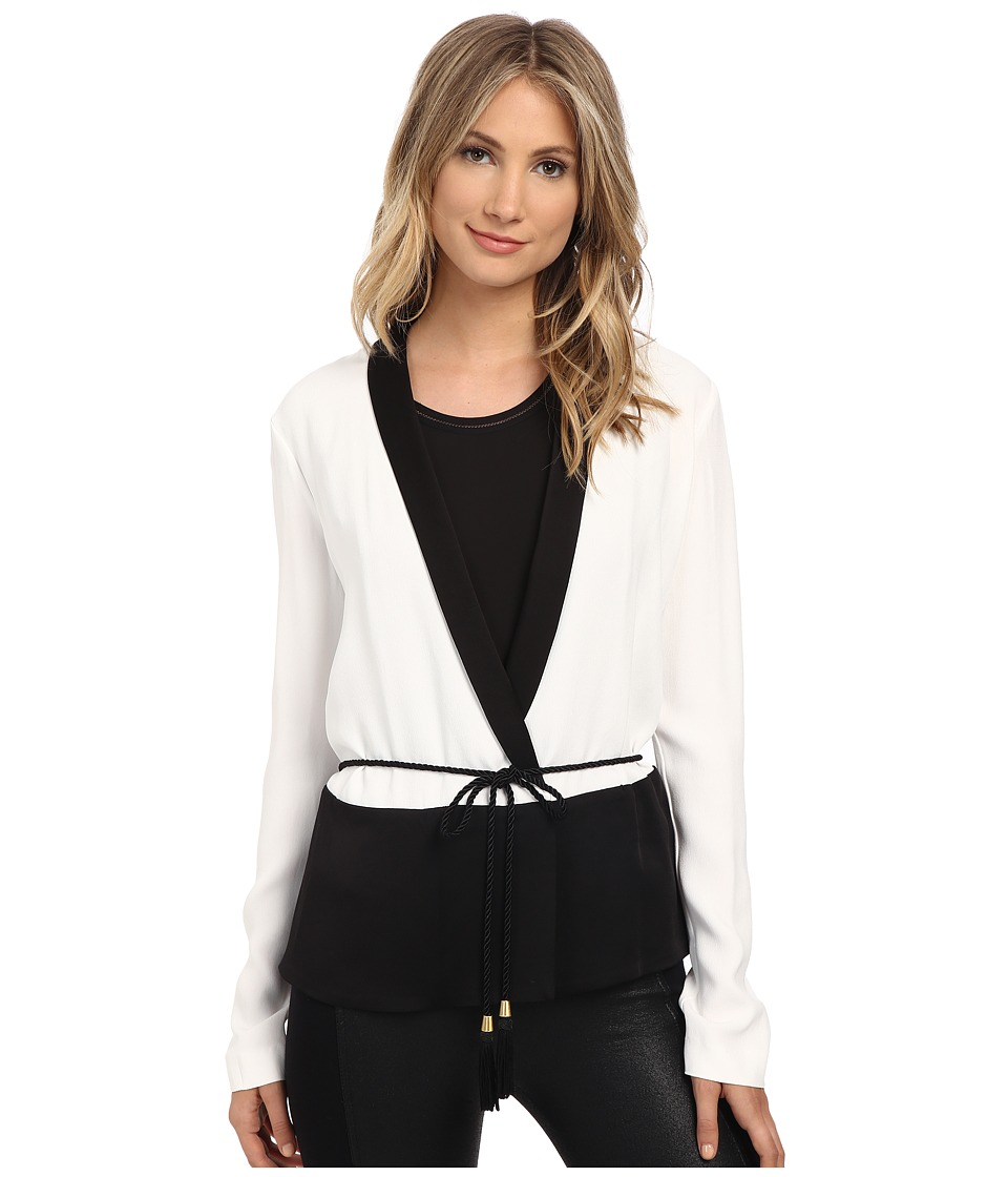 Rachel Zoe Alex Wrap Tuxedo Top White/Black Womens Blouse