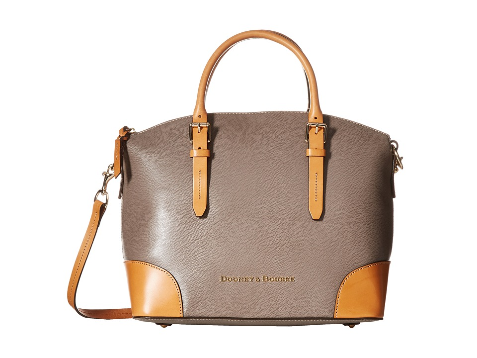 Dooney & Bourke - Claremont Domed Satchel (Taupe/Butterscotch Trim) Satchel Handbags