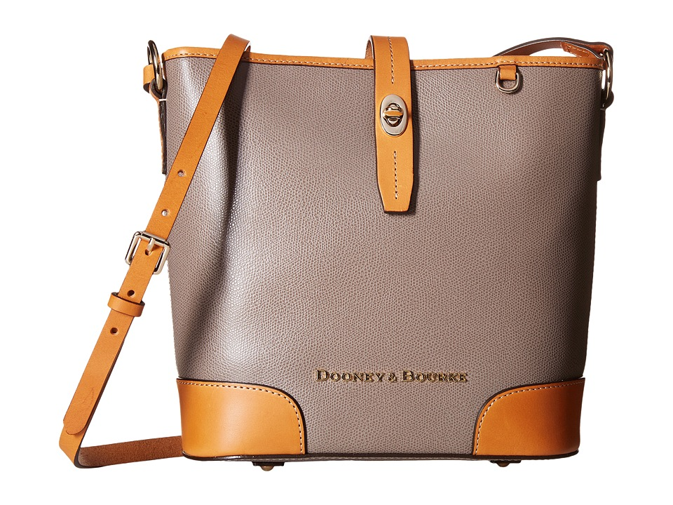 Dooney amp Bourke Claremont Crossbody Bucket Taupe/Butterscotch Trim Cross Body Handbags