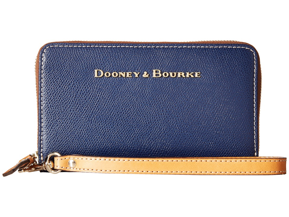 Dooney amp Bourke Claremont Zip Around Credit Card Phone Wristlet Navy/Butterscotch Trim Wristlet Handbags