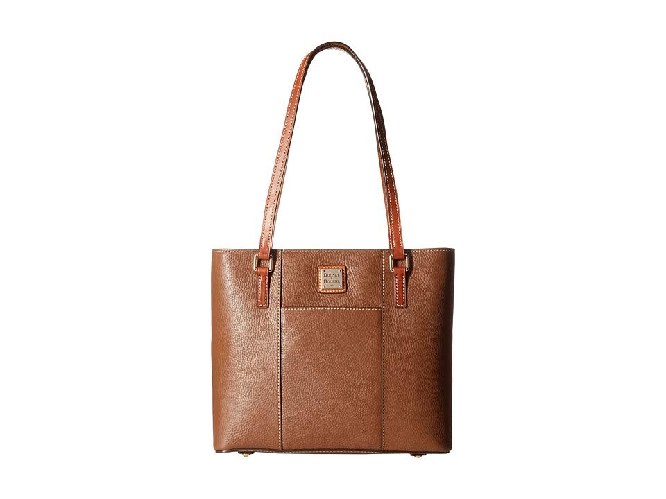 Dooney amp Bourke Pebble Leather New Colors Small Lexington Shopper Cocoa/Tan Trim Tote Handbags