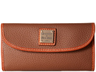 Dooney & Bourke Pebble Leather New SLGS Continental Clutch (Cocoa/Tan Trim)