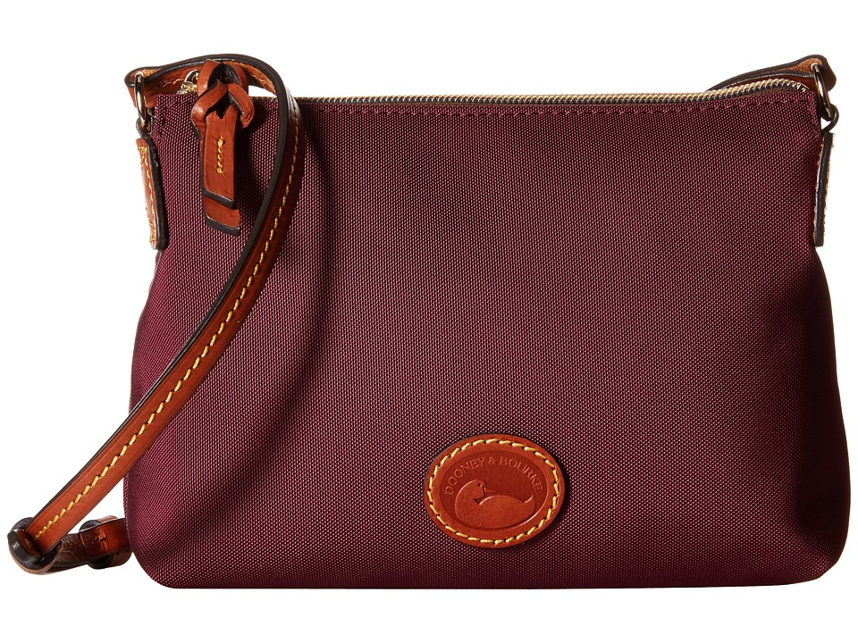Dooney amp Bourke IN Nylon New SLGS Styles Crossbody Pouchette Rouge/Tan Trim Cross Body Handbags