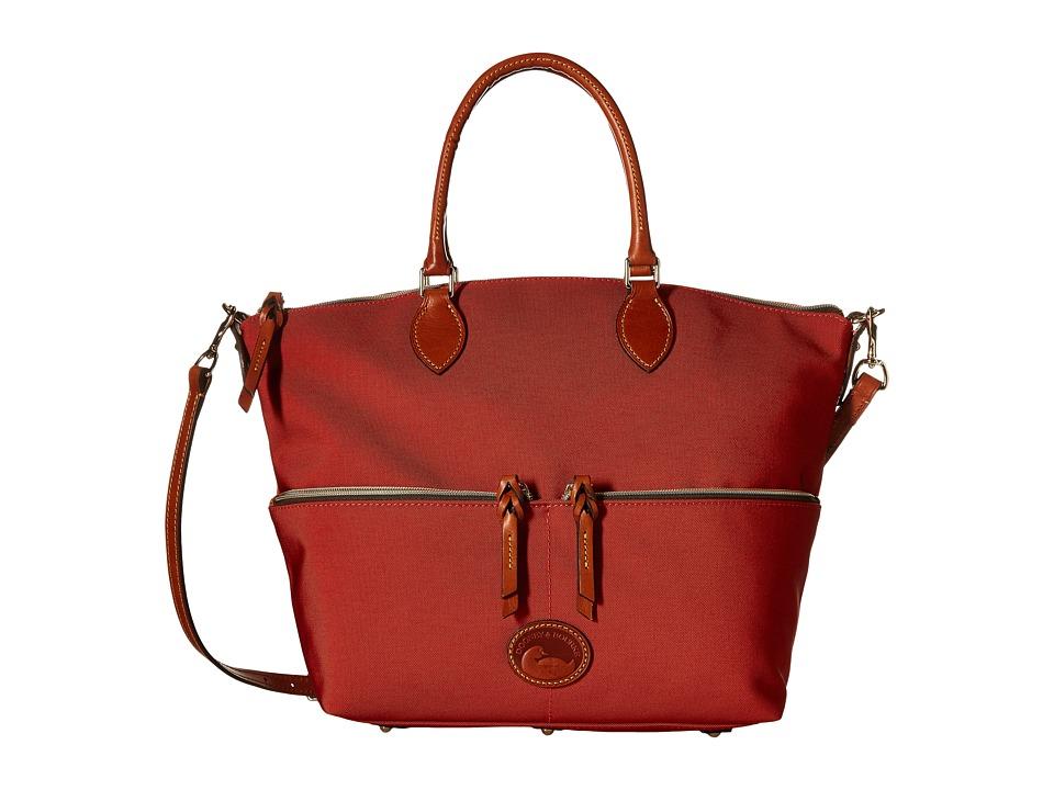 Dooney amp Bourke Nylon Large Pocket Satchel Brick/Tan Trim Satchel Handbags