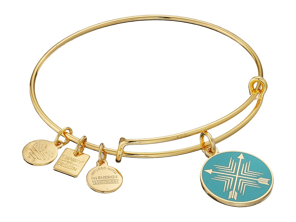 Alex and Ani - Charity by Design Arrows of Friendship Charm Bangle (Shiny Gold Finish) Bracelet