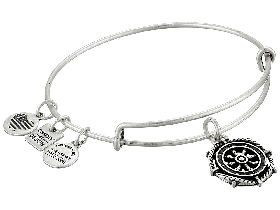 Alex and Ani - Charity by Design Take the Wheel Charm Bangle (Rafaelian Silver Finish) Bracelet