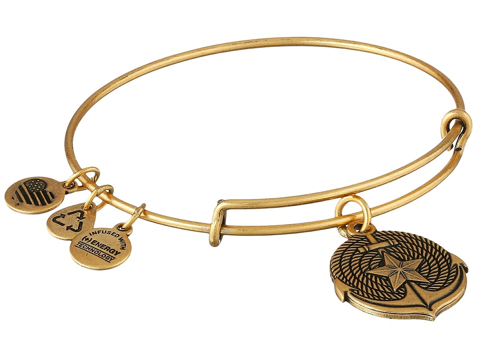 Alex and Ani Anchor Expandable Charm Bangle Rafaelian Gold Finish Bracelet
