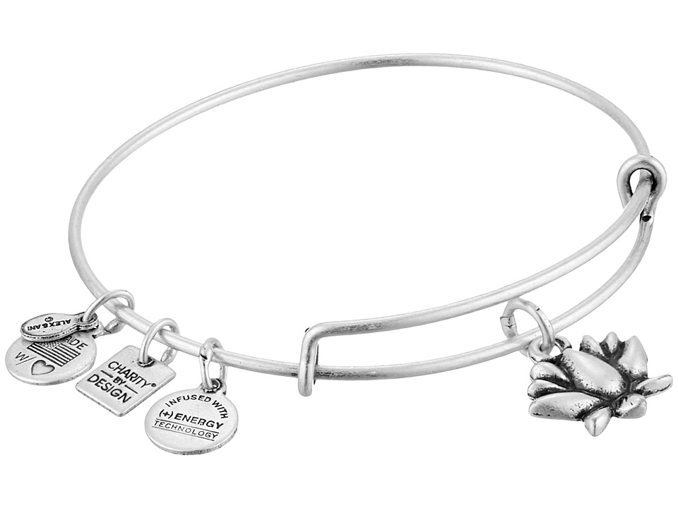 Alex and Ani - Charity by Design Lotus Blossom Charm Bangle (Rafaelian Silver Finish) Bracelet