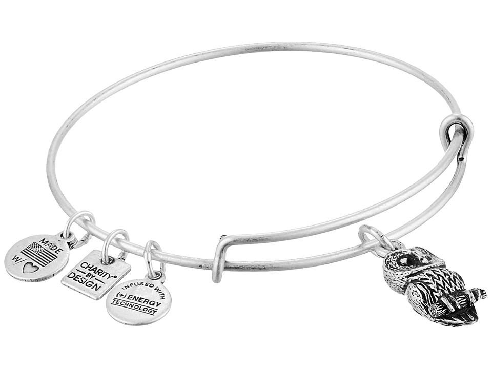 Alex and Ani - Charity by Design Ode to the Owl Charm Bangle (Rafaelian Silver Finish) Bracelet