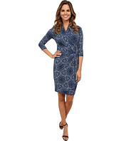 Karen Kane - Blue Mosaic Cascade Wrap Dress
