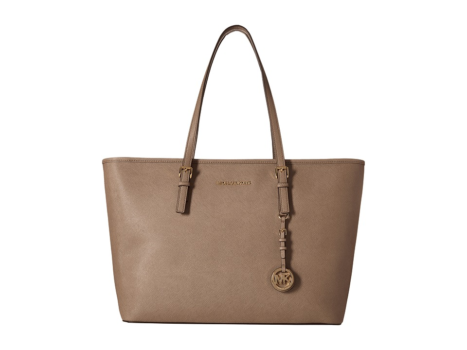 MICHAEL Michael Kors Jet Set Travel Medium Top Zip Mult Funt Tote Dark Dune Tote Handbags