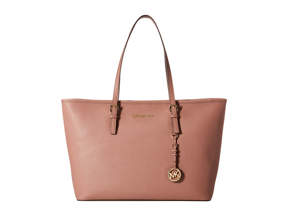 MICHAEL Michael Kors - Jet Set Travel Medium Top Zip Mult Funt Tote (Dusty Rose) Tote Handbags