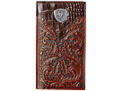 Ariat Tooled Rodeo Wallet with Gator Tab and Logo Concho