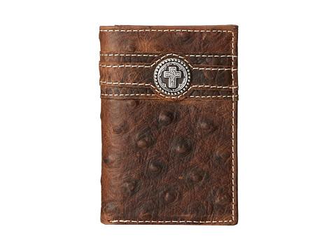 Ariat Cross Concho Ostrich Tri-Fold Wallet