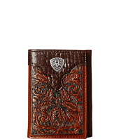 Ariat - Tooled Tri-Fold Wallet with Gator Tab and Logo Concho