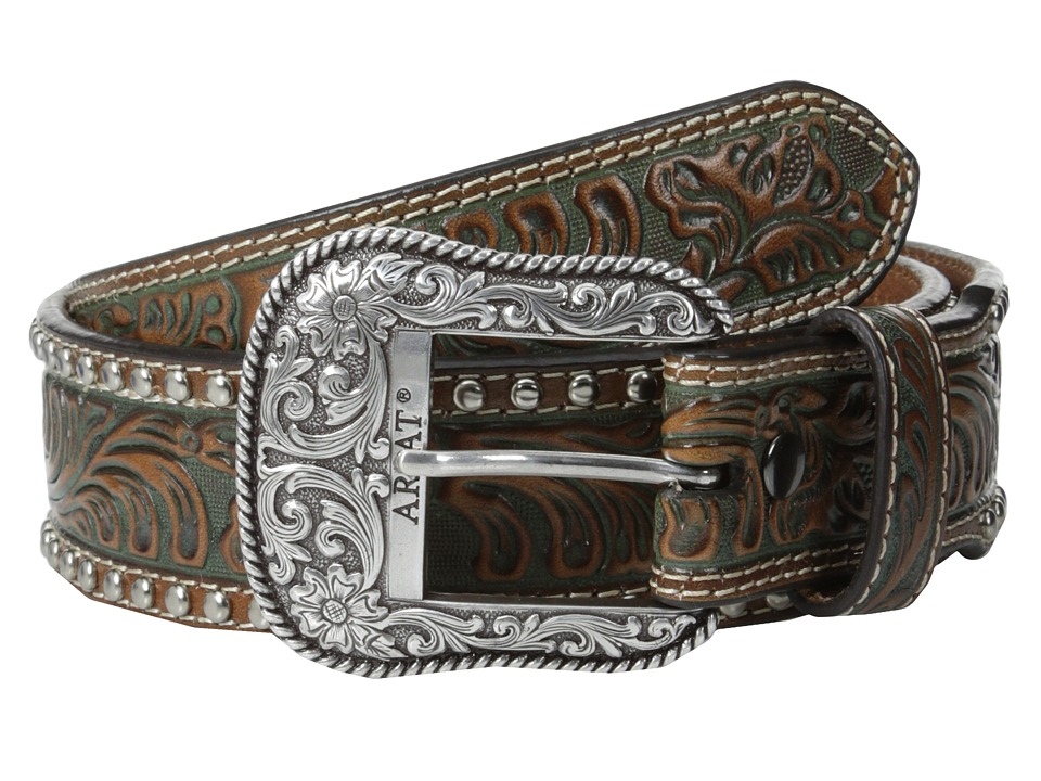 Ariat Embossed Studded Belt (Brown) Men's Belts