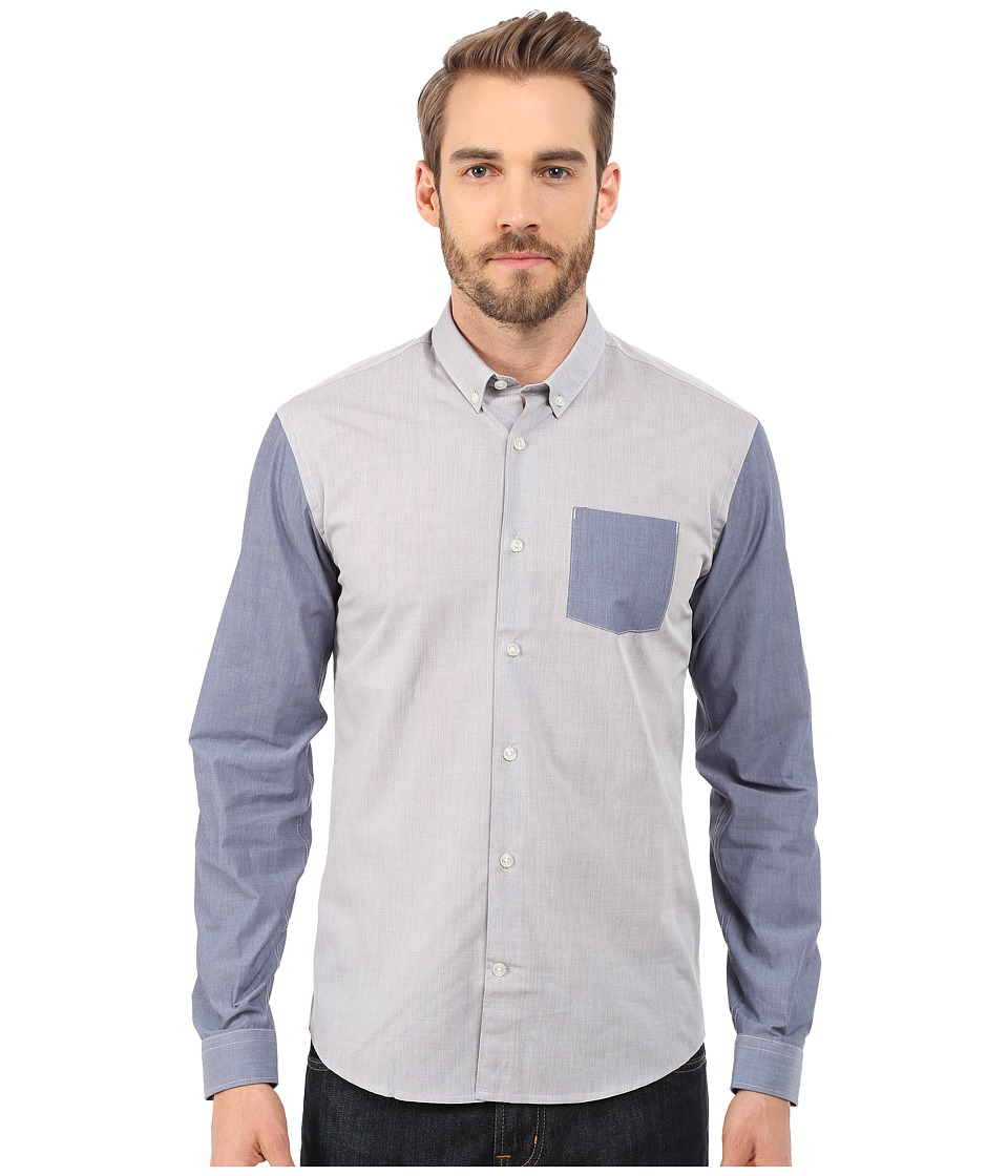 Lindbergh Long Sleeve Shirt w/ Contrast Grey Mens Clothing