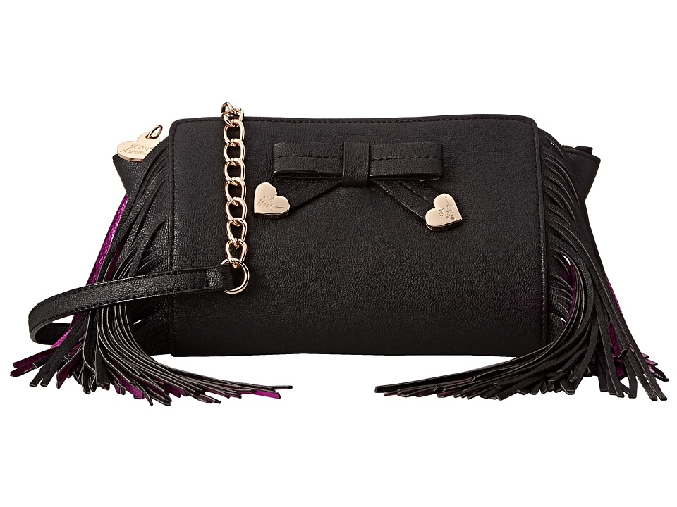 Betsey Johnson - Fringe Party Crossbody (Black) Cross Body Handbags