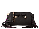 Betsey Johnson Fringe Party Crossbody (Black)