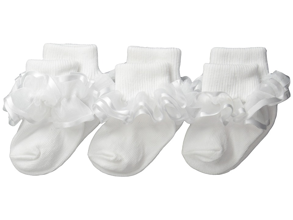 Jefferies Socks Frilly Lace Infant/Toddler/Little Kid/Big Kid White Girls Shoes