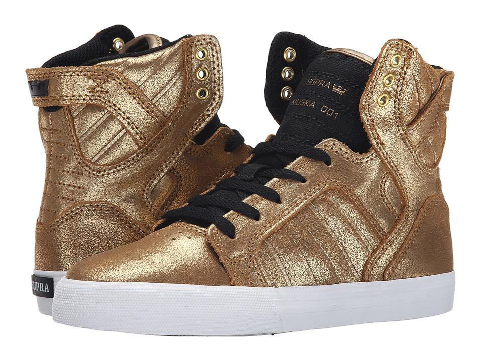 Supra Kids Skytop Little Kid/Big Kid Gold Leather/Black Canvas Boys Shoes