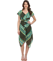 Sangria - V-Neck Stripe Print Dress