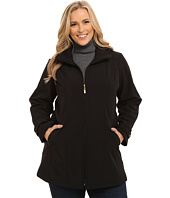 Ellen Tracy - Plus Size Zip Front Hooded Soft Shell Coat