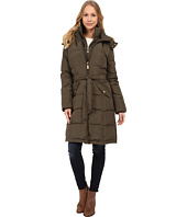 Ellen Tracy - Walker Length Belted Trench Down w/ Faux Fur Hood