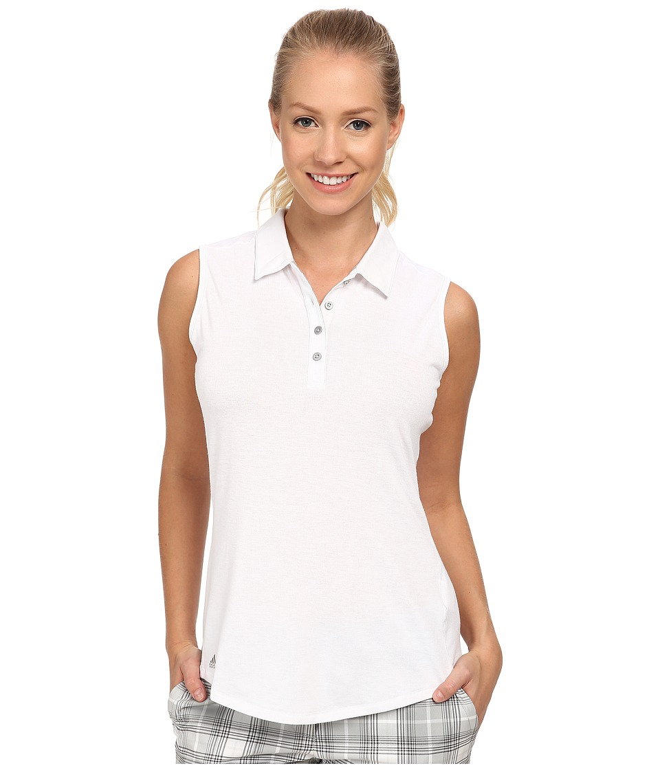adidas Golf Climalite Essentials Heather Sleevelees Polo 15 White Womens Sleeveless