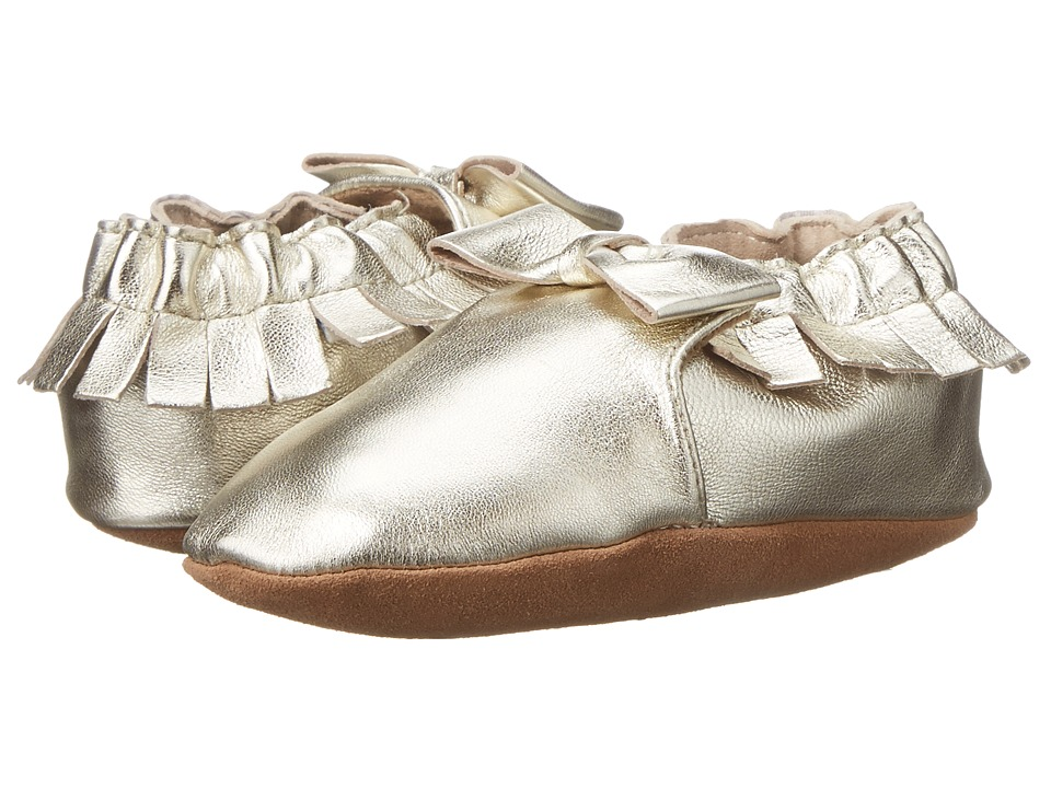 Robeez - Premuim Leather Moccasin Maggie Soft Sole (Infant/Toddler) (Gold) Girls Shoes
