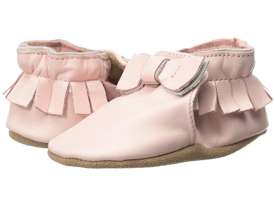 Robeez - Premuim Leather Moccasin Maggie Soft Sole (Infant/Toddler) (Pastel Pink) Girls Shoes