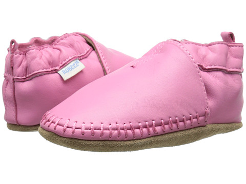 Robeez Premuim Leather Classic Moccasin Soft Sole (Infant/Toddler) - Pink