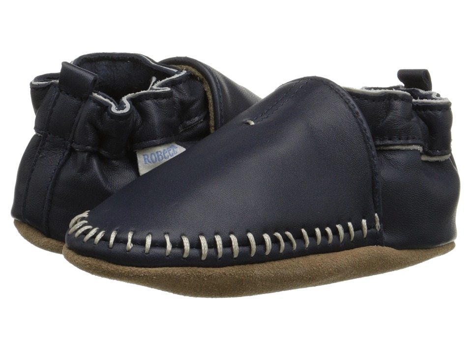 Robeez Premuim Leather Classic Moccasin Soft Sole (Infant/Toddler) (Navy) Boys Shoes
