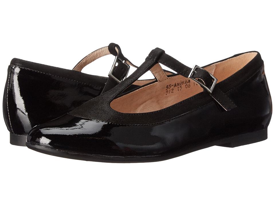 Venettini Kids 55 Andrea Little Kid/Big Kid Black Patent/Black Polvere Suede Girls Shoes
