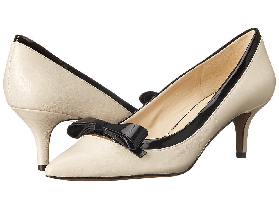 Nine West - Xenos Off WhiteBlack Leather Womens 1-2 inch heel Shoes $89.00 AT vintagedancer.com