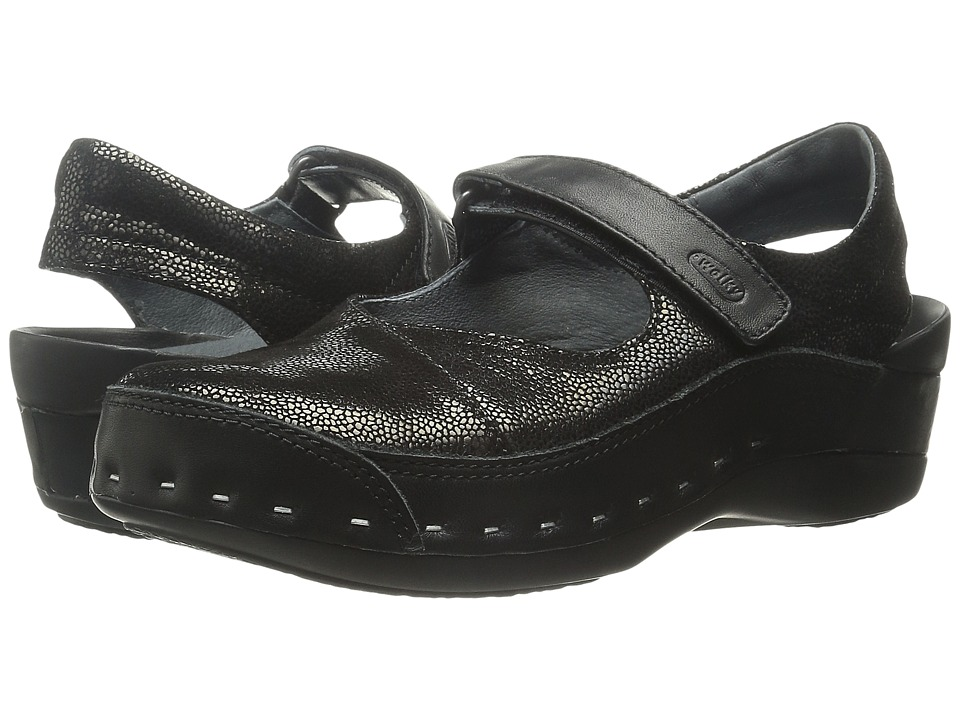 Wolky Strap Cloggy Black Caviar Womens Clog Shoes