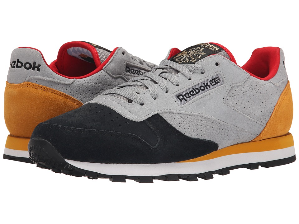 Reebok Lifestyle Classic Leather INT OP Flat Grey/Black/Collegiate Gold/Red Rush Mens Shoes