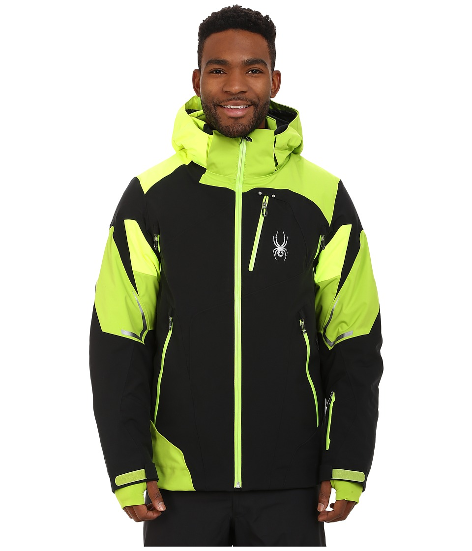 Spyder Leader Jacket BlackTheory GreenBryte Yellow Mens Jacket