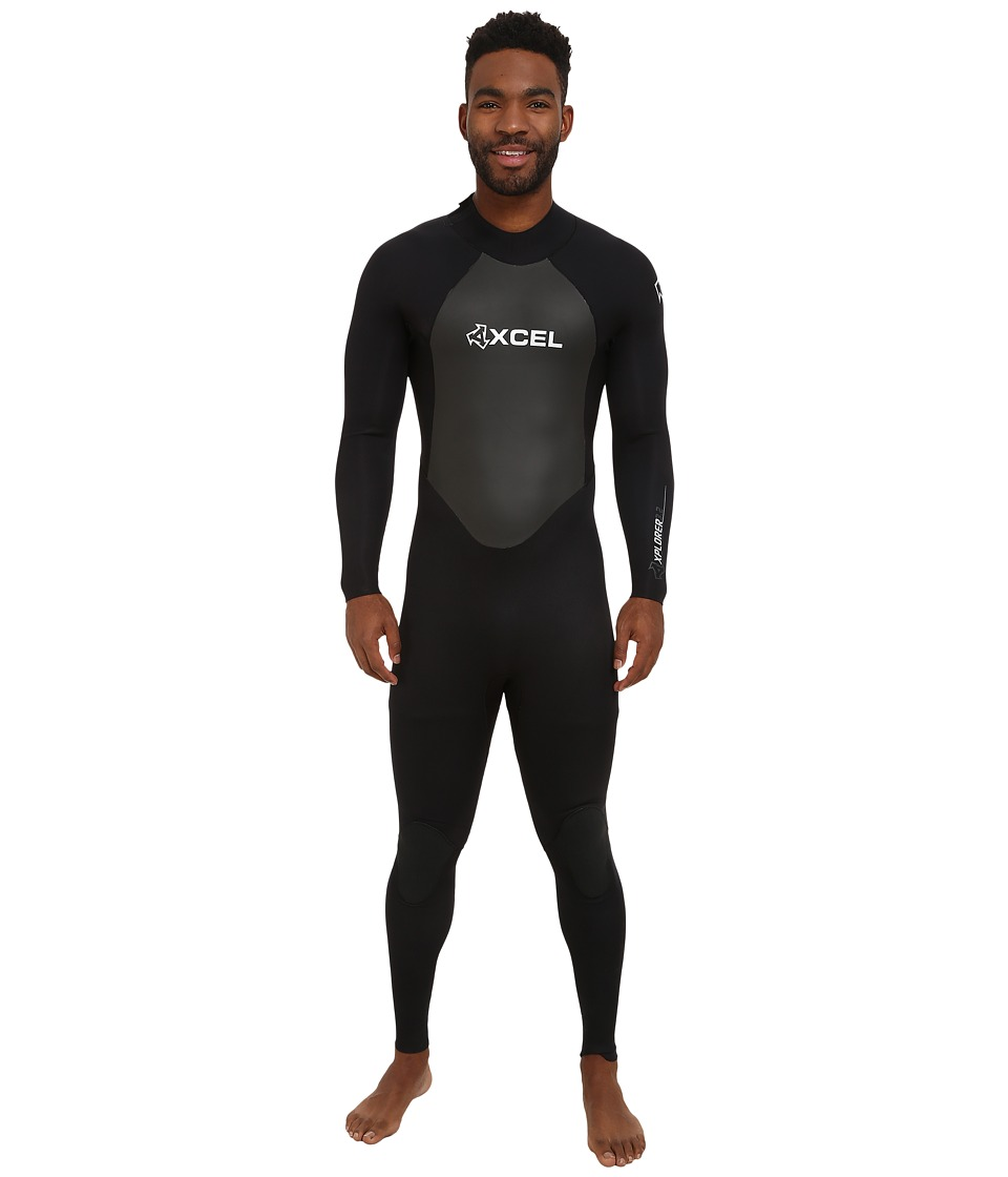 XCEL Wetsuits 3/2mm Xplorer OS Full Suit All Black/Silver Ash Logos Mens Wetsuits One Piece