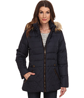 Larry Levine - Short Hooded Down with Faux Leather Trim