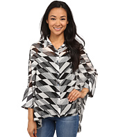 Miraclebody Jeans - Camp Shirt Broken Arrow Print Top w/ Body-Shaping Inner Shell