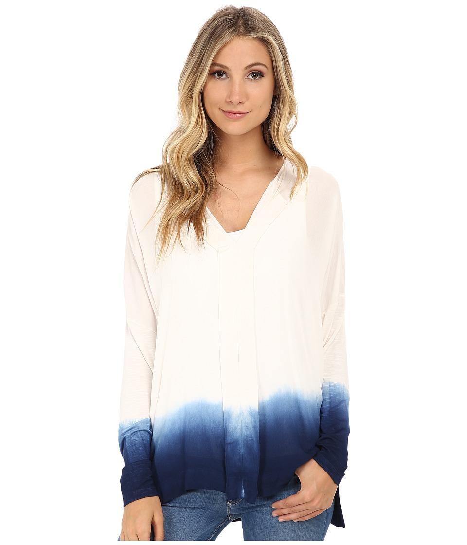 Miraclebody Jeans Eva Dip Dye Envelope Top w/ Body Shaping Inner Shell Navy Blue Womens Clothing